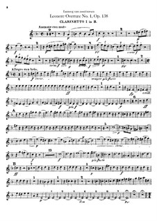 Leonore. Overture No.1, Op.138: Clarinets I, II parts by Ludwig van Beethoven
