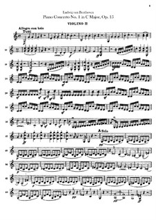 Concerto for Piano and Orchestra No.1, Op.15: Violin II part by Ludwig van Beethoven