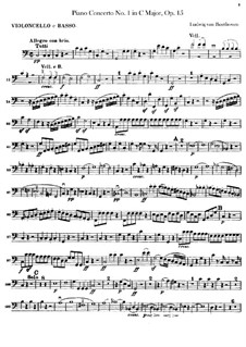 Concerto for Piano and Orchestra No.1, Op.15: Cello and double bass part by Ludwig van Beethoven