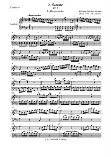 Sonata for Violin and Piano in D Major, K.7: Piano (or harpsihord) part by Wolfgang Amadeus Mozart