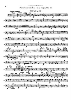 Concerto for Piano and Orchestra No.1, Op.15: Timpani part by Ludwig van Beethoven