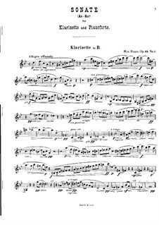 Two Sonatas for Clarinet (or Viola) and Piano, Op.49: Sonata No.1 in A Flat Major by Max Reger