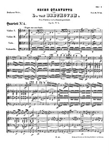 Quartet No.4 in C Minor: Full score by Ludwig van Beethoven