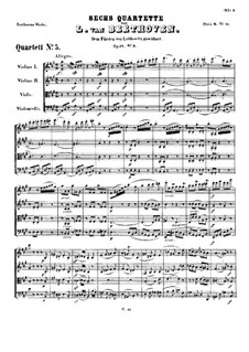 Quartet No.5 in A Major: Full score by Ludwig van Beethoven