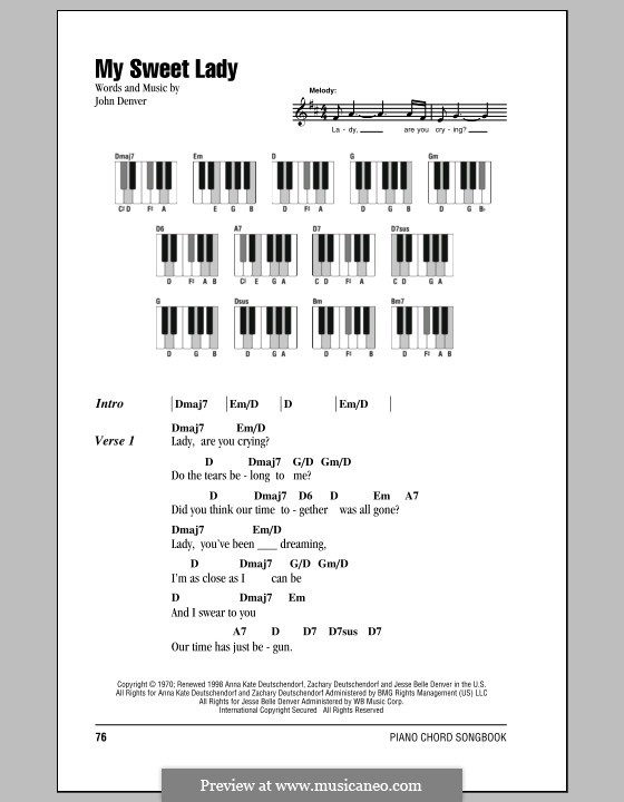 My Sweet Lady By J Denver Sheet Music On Musicaneo