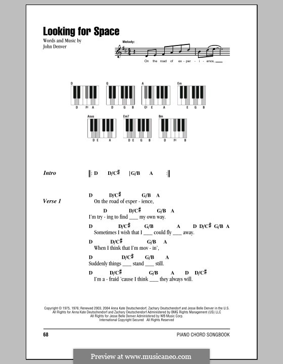 Looking For Space By J Denver Sheet Music On Musicaneo