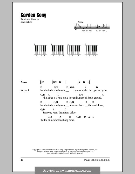 Garden Song By D Mallet Sheet Music On Musicaneo