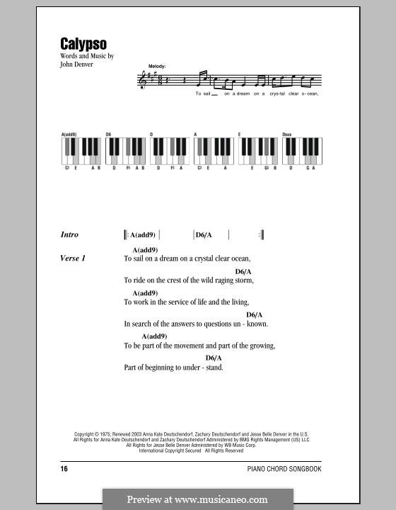 Calypso By J Denver Sheet Music On Musicaneo