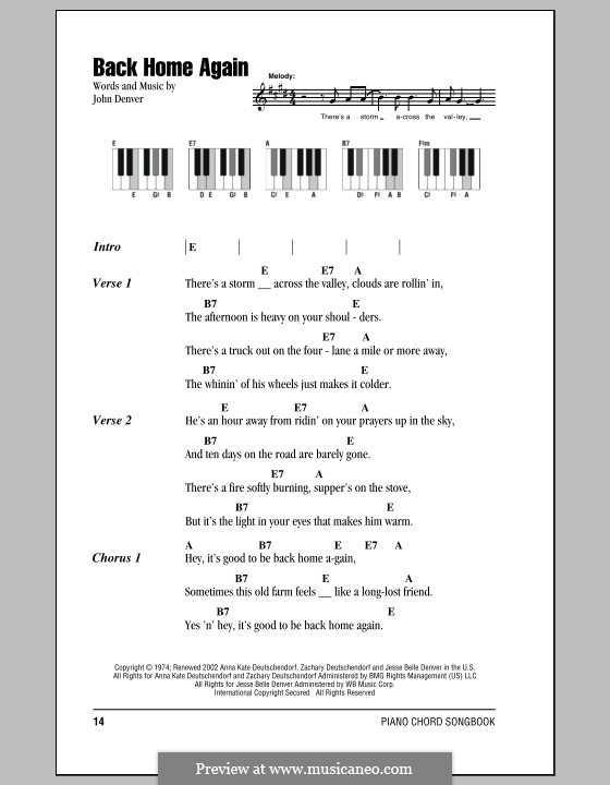 Back Home Again By J Denver Sheet Music On Musicaneo