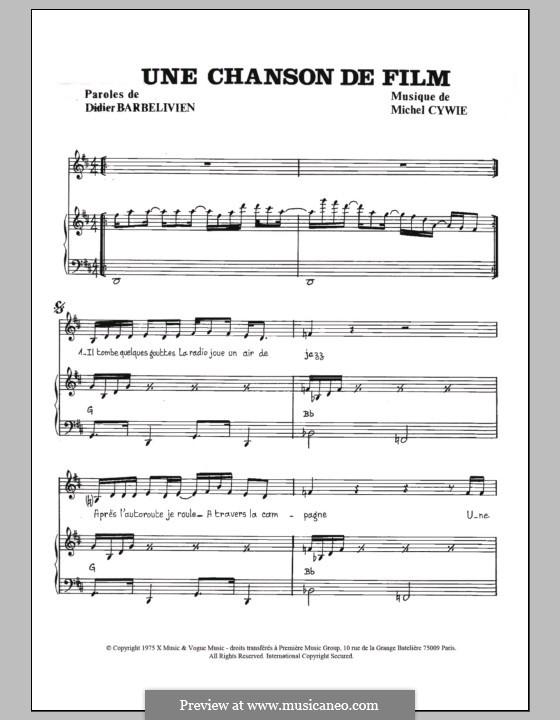 Une chanson de film (Gerard Manuel): For voice and piano by Michel Cywie