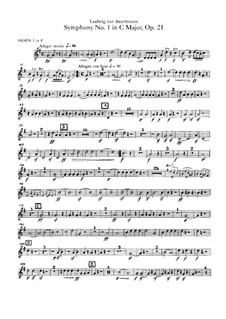 Complete Symphony: Horns parts by Ludwig van Beethoven