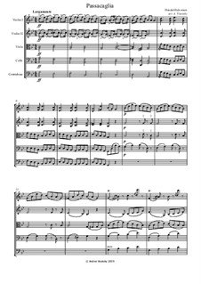 Passacaglia on Theme from Suite by G. Handel for Harpsichord: Arrangement for string quartet (or orchestra) by Johan Halvorsen