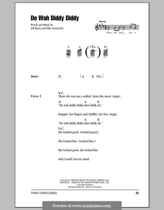 Do Wah Diddy Diddy (Manfred Mann): For ukulele by Ellie Greenwich, Jeff Barry