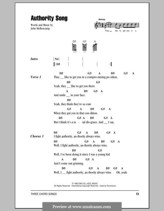 Authority Song: For ukulele by John Mellencamp