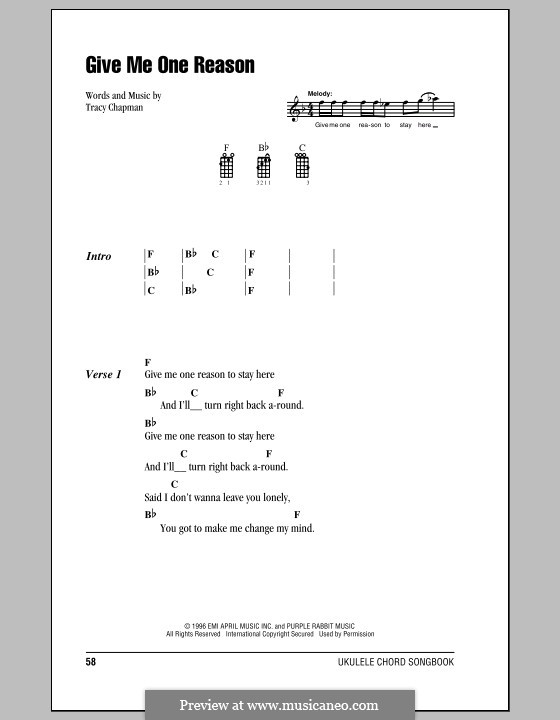 Give Me One Reason: For ukulele by Tracy Chapman