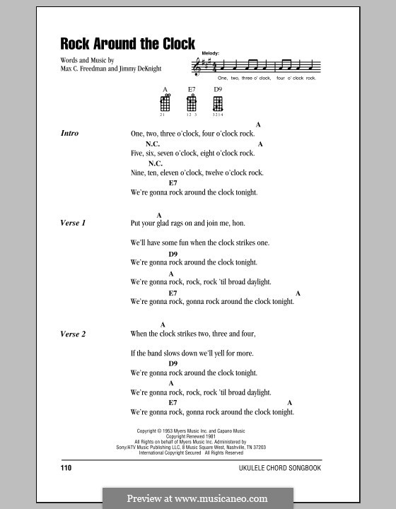 Rock Around the Clock (Bill Haley and His Comets): Lyrics and chords by Jimmy DeKnight, Max C. Freedman
