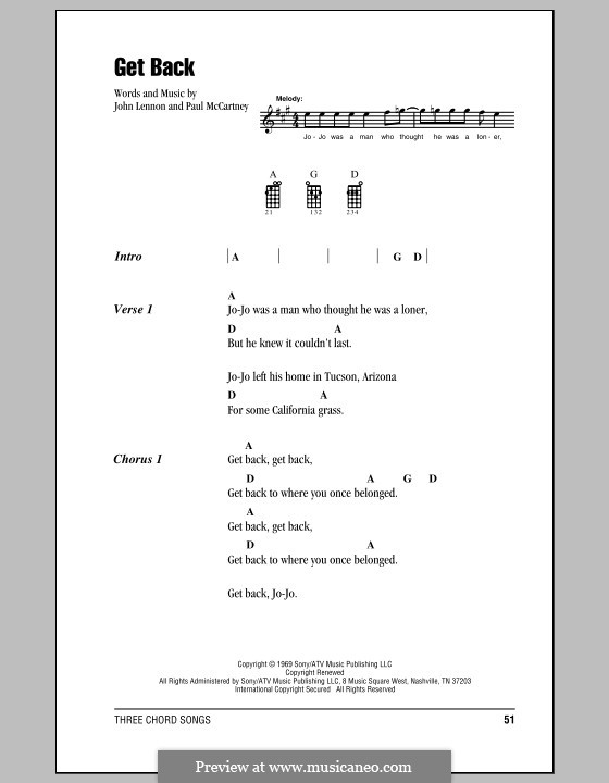 Get Back (The Beatles): For ukulele by John Lennon, Paul McCartney