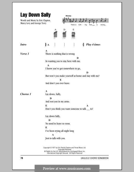 Lay Down Sally: For ukulele by George Terry, Marcy Levy