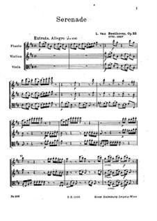 Serenade in D Major for Flute, Violin and Viola, Op.25: Full score by Ludwig van Beethoven