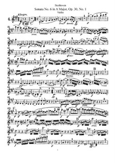 Sonata for Violin and Piano No.6, Op.30 No.1: Solo part by Ludwig van Beethoven