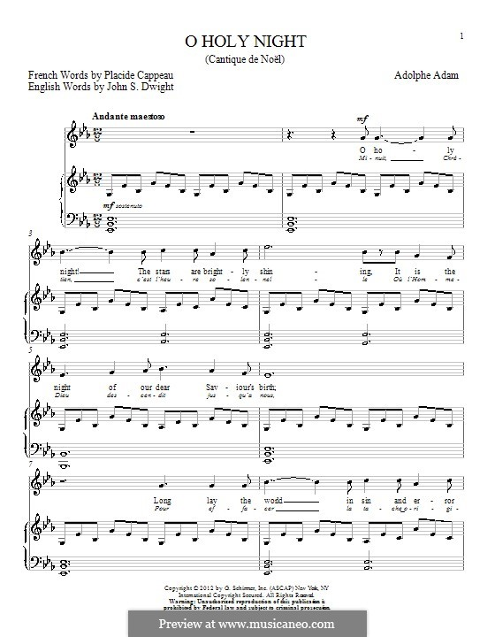 O Holy Night (Printable Scores): For voice and piano (E Flat Major) by Adolphe Adam