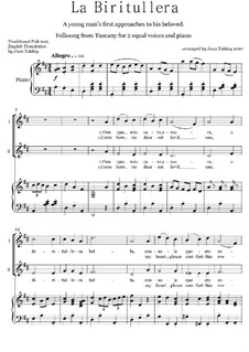 Biritullera - Tuscan Folksong: For two voices and piano by folklore