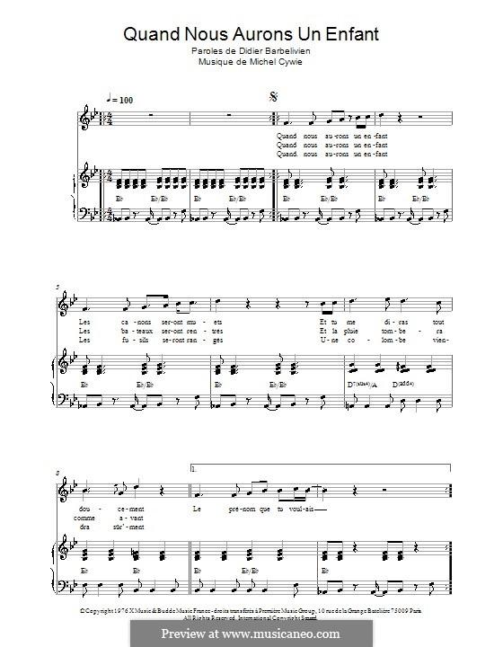 Quand nous aurons un enfant (Marie Laforet): For voice and piano by Michel Cywie