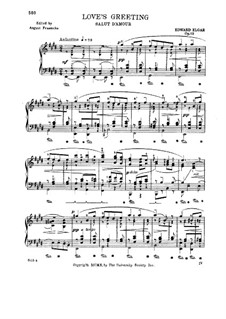 Salut d'amour (Love's Greeting), Op.12: For piano (with fingering) by Edward Elgar