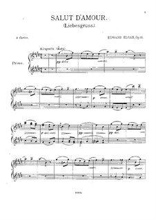Salut d'amour (Love's Greeting), Op.12: For piano four hands by Edward Elgar