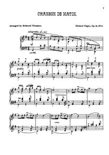 Two Pieces, Op.15: No.2 Chanson de matin, for piano by Edward Elgar