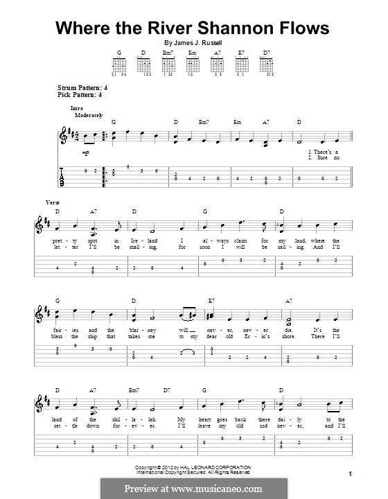 Where the River Shannon Flows: For guitar with tab by James Russell