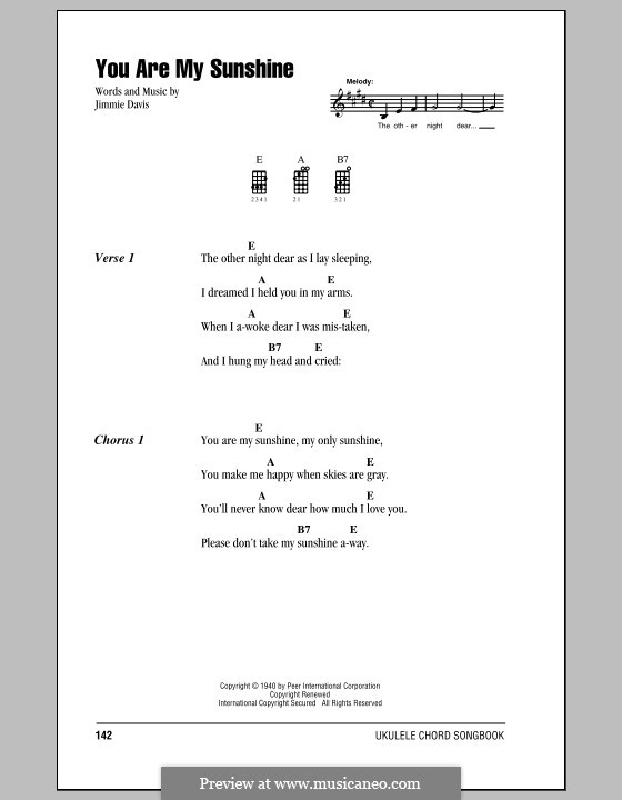You Are My Sunshine By J Davis Sheet Music On Musicaneo