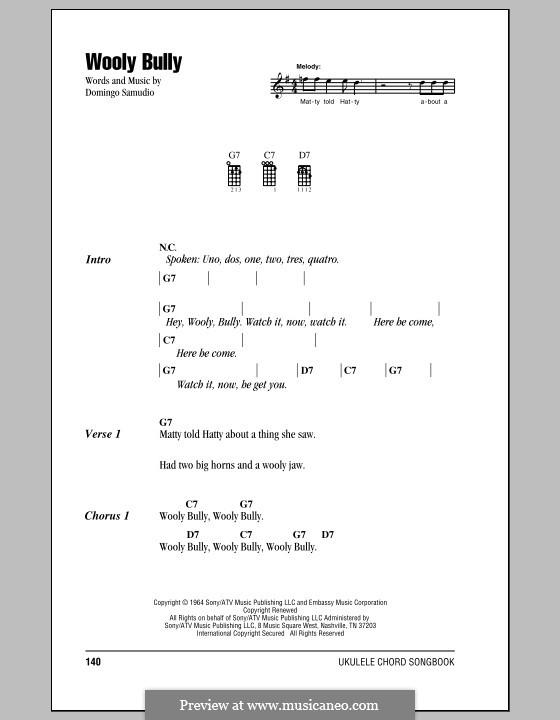 Wooly Bully (Sam the Sham & The Pharaohs): For ukulele by Domingo Samudio