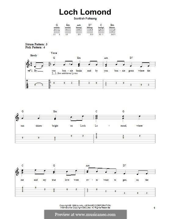 Loch Lomond: For guitar with tab by folklore