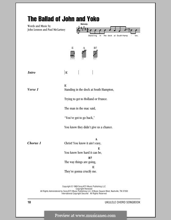 The Ballad of John and Yoko (The Beatles): For ukulele by John Lennon, Paul McCartney
