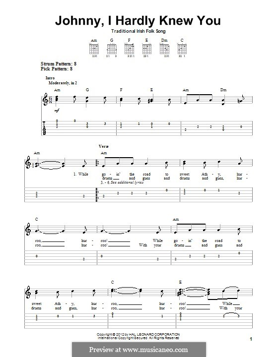 Johnny, I Hardly Knew You: For guitar with tab by folklore