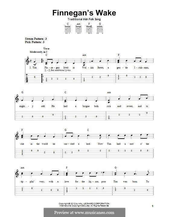 Finnegan's Wake: For guitar with tab by folklore