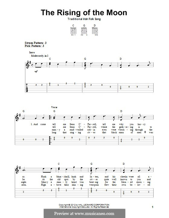 The Rising of the Moon: For guitar with tab by folklore