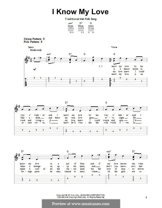 I Know My Love: For guitar with tab by folklore