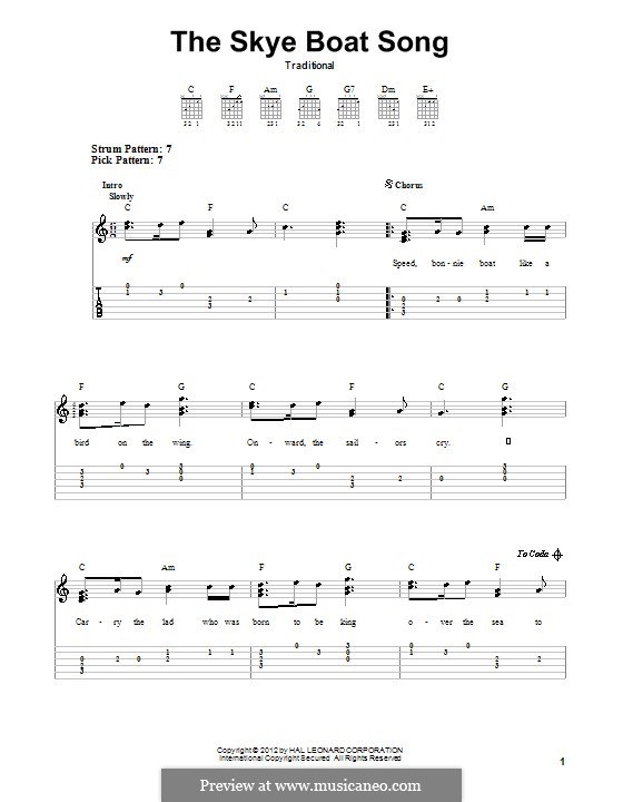 The Skye Boat Song: For guitar with tab by folklore