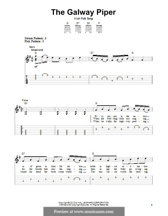 The Galway Piper: For guitar with tab by folklore