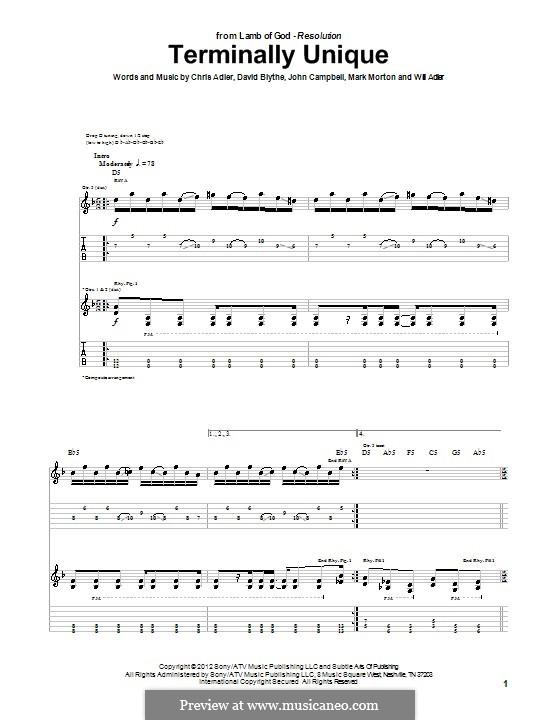 Terminally Unique (Lamb of God): For guitar with tab by Chris Adler, David Blythe, John Campbell, Mark Morton, Will Adler