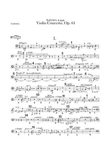 Concerto for Violin and Orchestra, Op.61: Timpani part by Edward Elgar