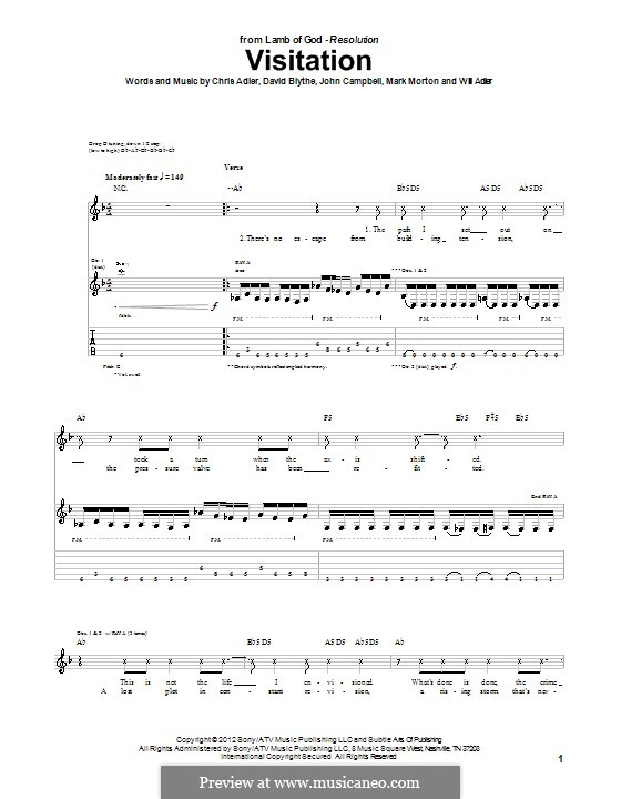 Visitation (Lamb of God): For guitar with tab by Chris Adler, David Blythe, John Campbell, Mark Morton, Will Adler
