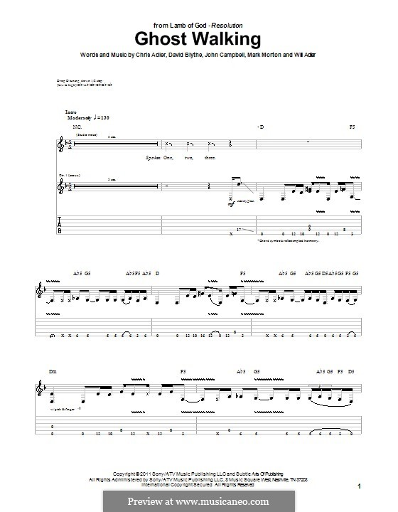 Ghost Walking (Lamb of God): For guitar with tab by Chris Adler, David Blythe, John Campbell, Mark Morton, Will Adler