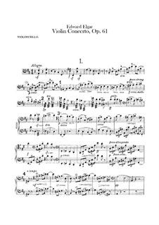 Concerto for Violin and Orchestra, Op.61: Cello part by Edward Elgar