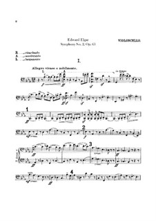 Symphony No.2 in E Flat Major, Op.63: Cello part by Edward Elgar