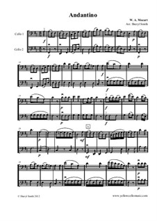 Andantino, arranged for two cellos (cello duo / duet): Andantino, arranged for two cellos (cello duo / duet) by Wolfgang Amadeus Mozart