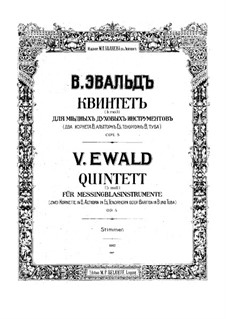 Brass Quintet No.1 in B Flat Minor, Op.5: Cornet I part by Victor Ewald