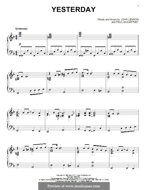 Yesterday, for Piano (The Beatles): For a single performer by John Lennon, Paul McCartney
